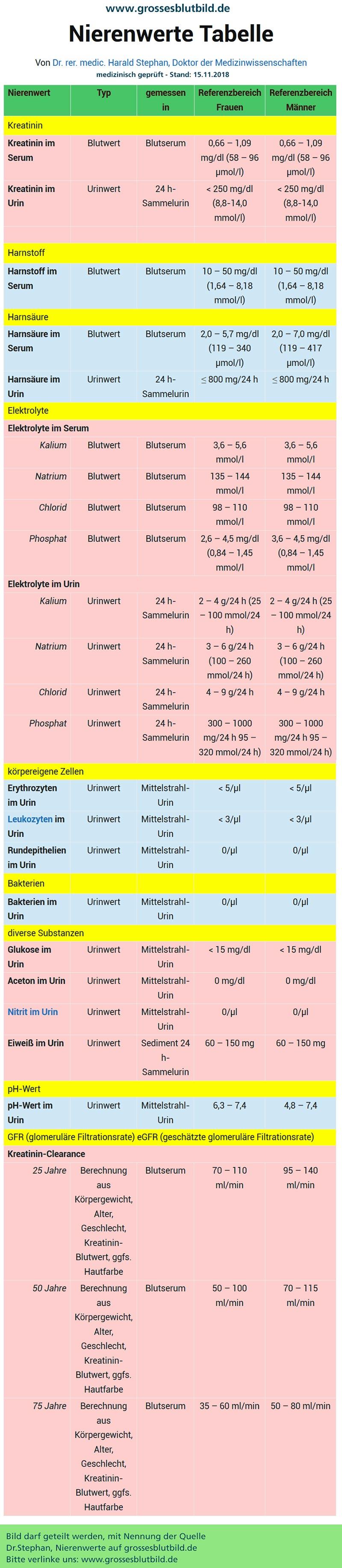 Blutbild Nierenwerte
